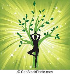 Woman in yoga tree asana sport on wave background. Man silhouette pose in front of leaves. Energy medicine vector illustration. Element for design.