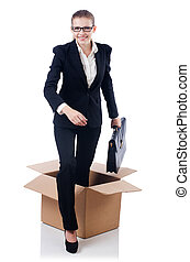 Woman in thinking out of box concept