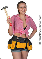 Woman in tool belt holding hammer