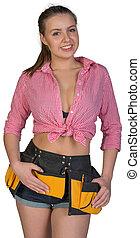 Woman in tool belt