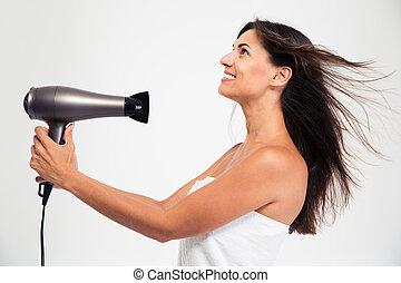 Woman in towel drying her hair - Happy beautiful woman in...