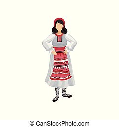 Icon of woman in traditional Romanian clothing long white dress with ornament, red headwear and bast shoes. Folk costume theme. Colorful vector illustration in flat style isolated on white background