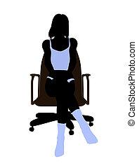 Woman In Undewear Sitting In An Office Chair Silhouette -...