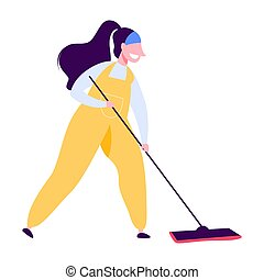 Woman in uniform cleaning the floor with a broom