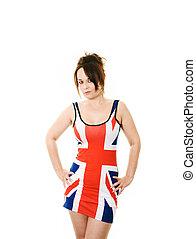 woman in union jack dress
