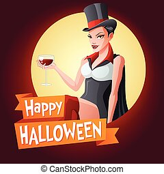 Woman in vampire costume. Vector card with text.