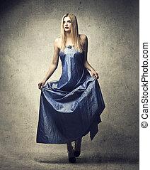 Woman in vinatge dress