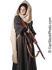 Woman in vintage costume of Russian Cossack - Unfriendly...