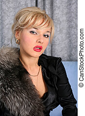 woman in vintage style with fur