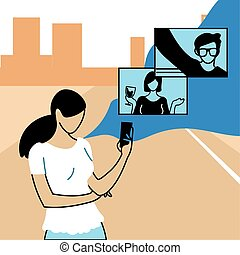 woman in virtual meeting with friends