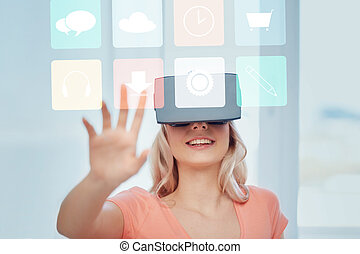 woman in virtual reality headset or 3d glasses - technology...