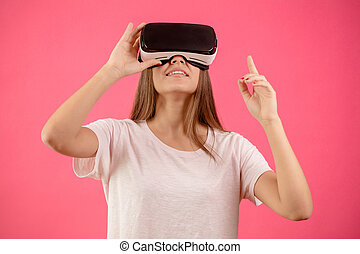 woman in vr googles with her head high.