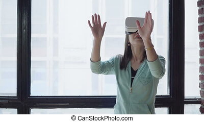 woman in vr head-mounted display