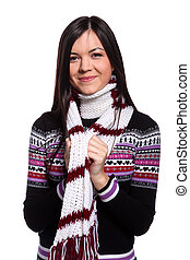 Woman in warm sweater - Young woman in warm sweater and...