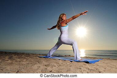 Woman in Warrior Pose II Yoga pose