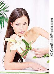 Woman in wellnesss salon