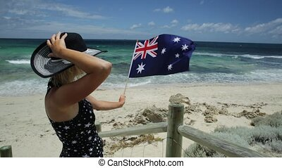 Woman in Western Australia - Woman on the sand looking at...