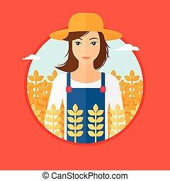 Woman in wheat field. - A woman standing in a wheat field....