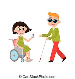 Woman in wheelchair, blind man with walking cane