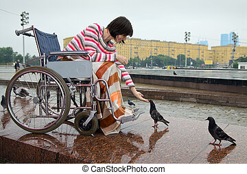 Woman in wheelchair feeds pigeons in street cities