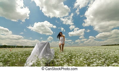 Woman In White Blossoming Meadow