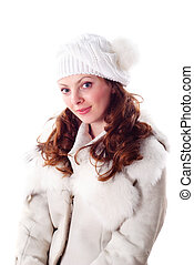 Woman in white cap and coat