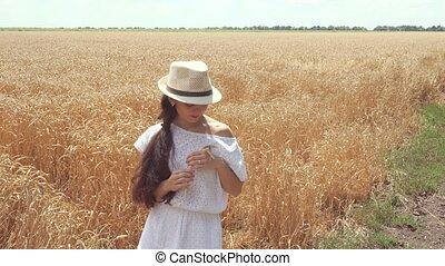 woman in white dress standing in field holding wheat ears