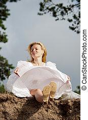 Woman in white dress