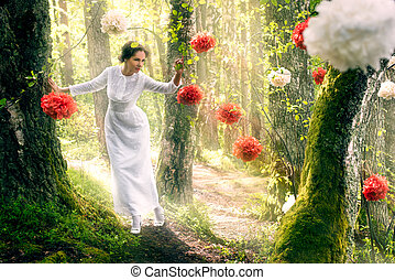 Woman in white dress walking in the forest - Young beautiful...
