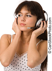 woman in white dress with headset