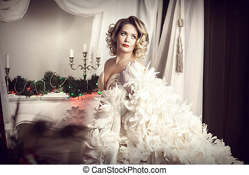 woman in white feather boa - blonde in white feather boa....