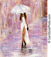 Woman in white - Original abstract oil painting showing ...