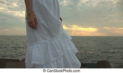 woman in white q - woman in white dress on the beach