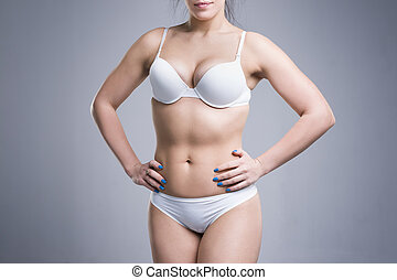 Woman in white underwear on gray background, perfect female body