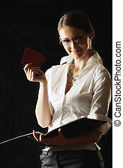 Woman in white with folder and cards