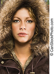 Woman in winter coat..