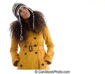 woman in woolen cap