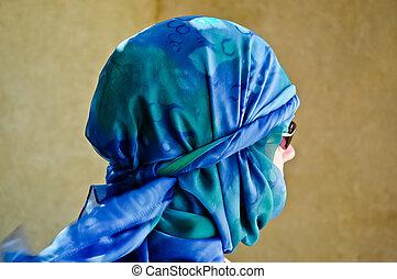 Woman in yashmak - The woman weared in yashmak in Egypt