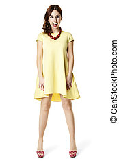Woman in yellow dress