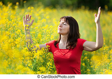 woman in yellow flowers