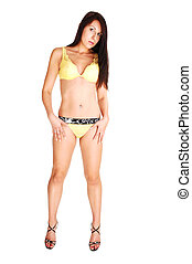 Woman in yellow lingerie.