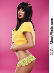 woman in yellow lingerie