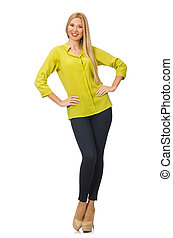 Woman in yellow shirt isolated on white