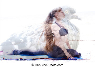 A woman is in yoga pigeon pose with image of actual pigeon superimposed to show how the king pigeon pose truly mimics the bird it is named after with no distortion to woman or pigeon. Composite image, both belong to artist.
