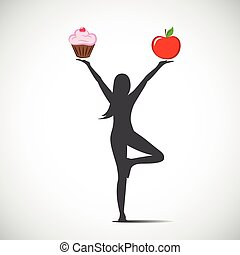 woman in yoga position chooses between a healthy food and harmful food