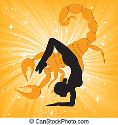 Woman in yoga scorpio asana sport on wave background. Girl...