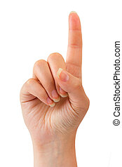 Woman index finger isoalted on white background