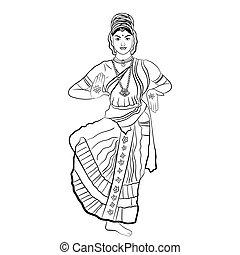 woman., indian, ダンス
