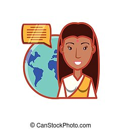 woman indian and planet earth with speech bubble