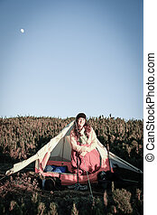 Woman inside the Tent